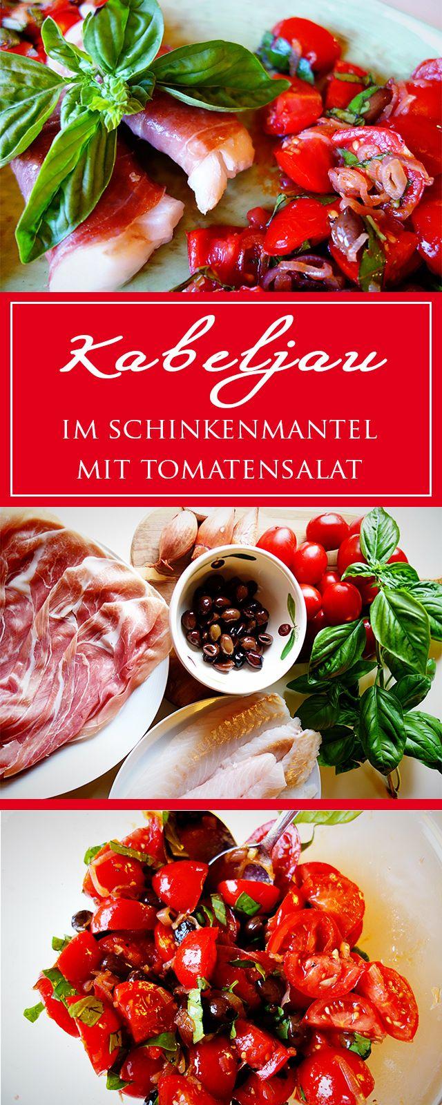 Kabeljau in Parmaschinken mit Tomatensalat - ein leichtes, unglaublich leckeres glutenfreies Rezept! Schnell gemacht & gesund! | cucina-con-amore.de