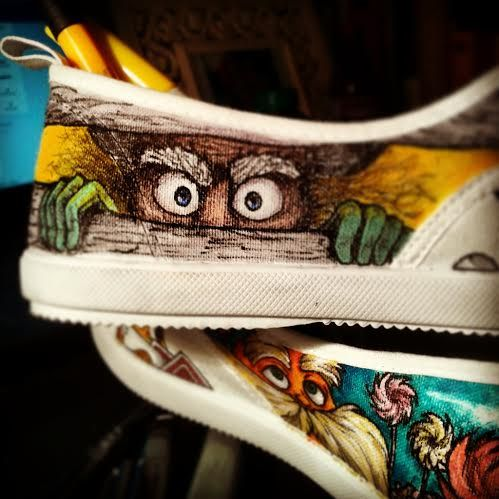 The #Onceler ! More pictures of those #DrSeuss #TheLorax #Shoes on my facebook page! www.facebook.com/fauvebcreations   #art #sharpie #lorax #truffula #tree #mustache