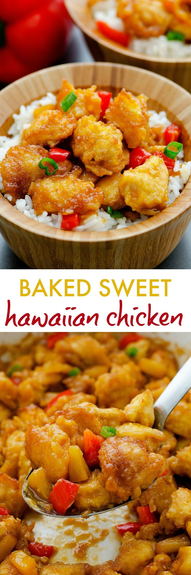 golden chicken coated in a sweet and tangy sauce with pineapples and bell peppers!