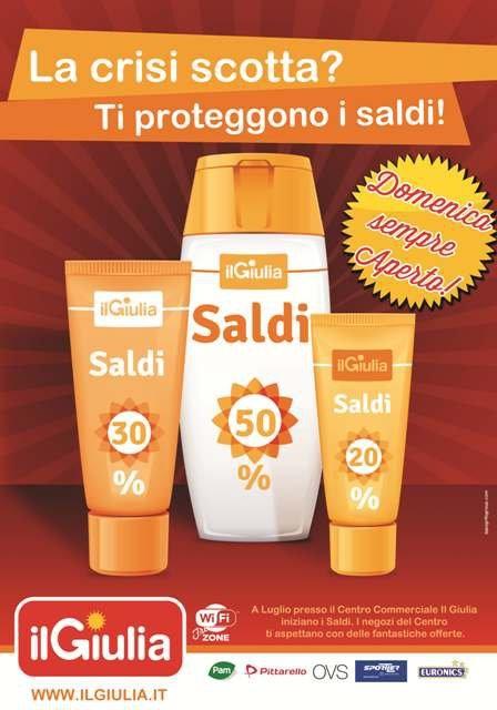 """ADV """"Saldi"""" per il Centro Commerciale il Giulia."""