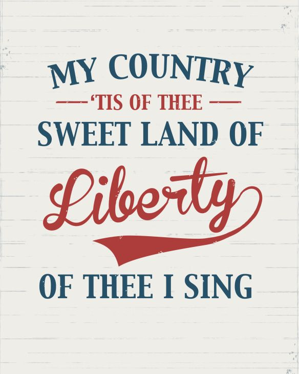 My Country Tis of Thee free 4th of July printable