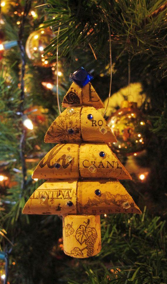 Wine Cork Christmas Tree Ornament  Medium Size by LMadeIt on Etsy, $10.00