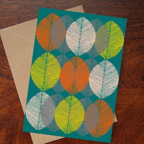 Winter Leaves Card (Teal)