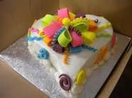 Fun multicolored heart cake pretty