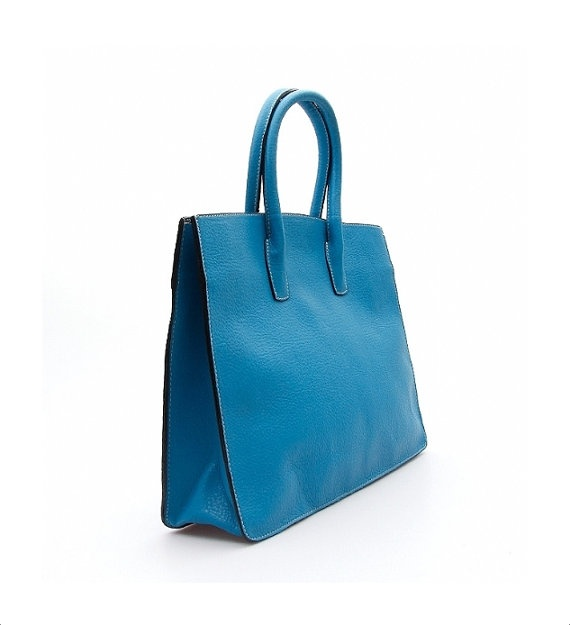Blue Leather Tote Bag diaper bag for women laptop ipad by ammaciyo, $85.00