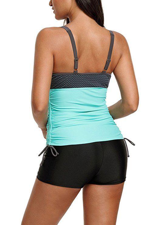 a1358c84f486d Amazon.com: Nuker Women's Open Back Tankini Top Set Two Piece Swimsuits:  Clothing