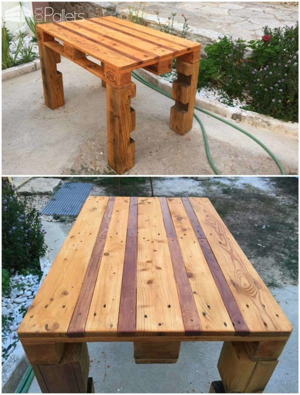 #Garden, #PalletTable, #RecyclingWoodPallets Outdoor pallet table made out of heavy weight EURO pallet. Darker finish varnish in the gaps between the planks. Table legs from a pallet support from a fiber glass pool.