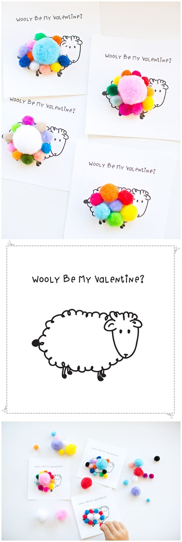 "Wooly Be My Valentine Free Printable - print out these adorable sheep cards and let kids add pom pom's on top for the ""sheep's wool."" Such a cute, non-candy Valentine idea!"