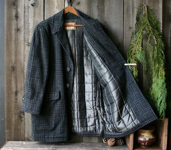 Mens Tweed Wool Sports Coat Jacket By McGregor Linned with Quilted Fill Black and Gray Vintage From NowVintage on Etsy