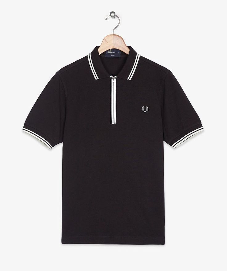Fred Perry Mens M5373 Zip Placket Twin Tipped Polo Black Size Extra Small BNWT