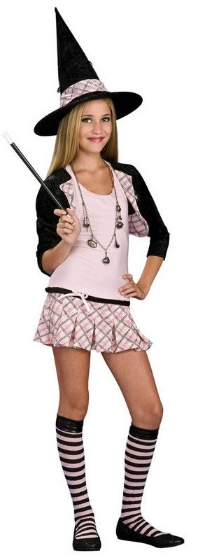 Tween Charm School Witch Costume $28.57 Black shrug jacket with pink plaid lapel, charms necklace, pink and black striped knee socks, pale pink and pink plaid pleated dress and the black witch hat with pink plaid trim. Teen Girls Costumes