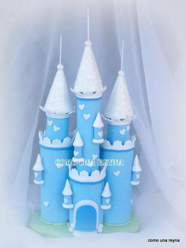 adorno torta castillo frozen ,princesas,porcelana