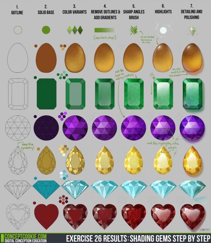 Рисование: Как раскрашивать драгоценные камни