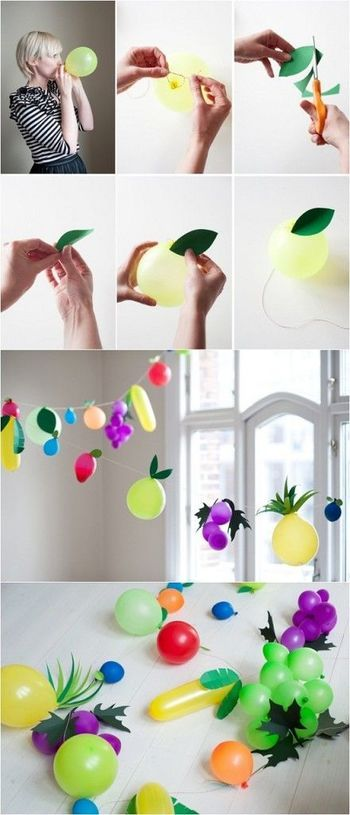 カラフルな色を生かし茎や葉をつけて果物をかたどれば、とってもキュートでポップな雰囲気になります。 画用紙と糊、糸があればカンタンにできるから、子どもと一緒に作っても楽しいですね。