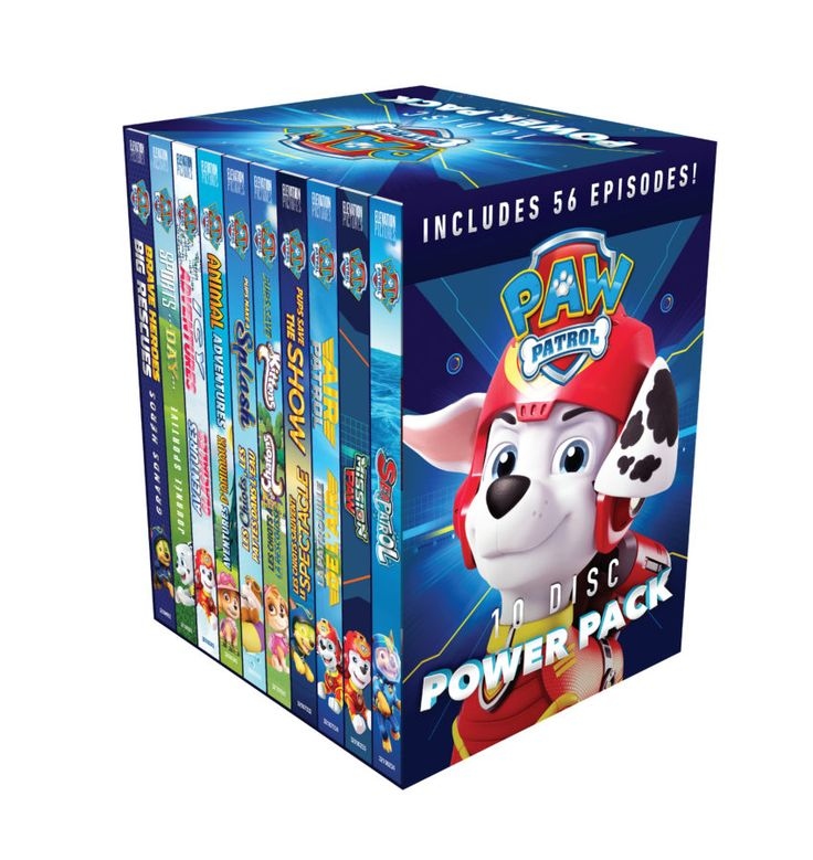 """The 10-disk Power Pack of Paw Patrol DVD's is the perfect product for the well-deserved parent who needs a few minutes (or 13 hours!) of quiet """"Me Time""""!"""