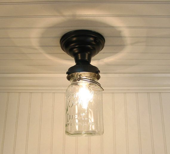 Single Vintage Canning Jar Ceiling Light Mason Jar