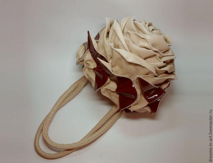 """Купить Авторская кожаная сумочка-роза """"Сладкая мечта"""" - арт-сумка, сумка роза"""