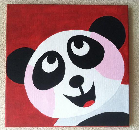 Cute Peekaboo PANDA ... Handpainted Acrylic Painting by memearts
