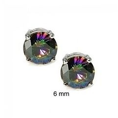 Bling Jewelry 925 Sterling Round Rainbow Topaz Color Cz Unisex Studs 6mm