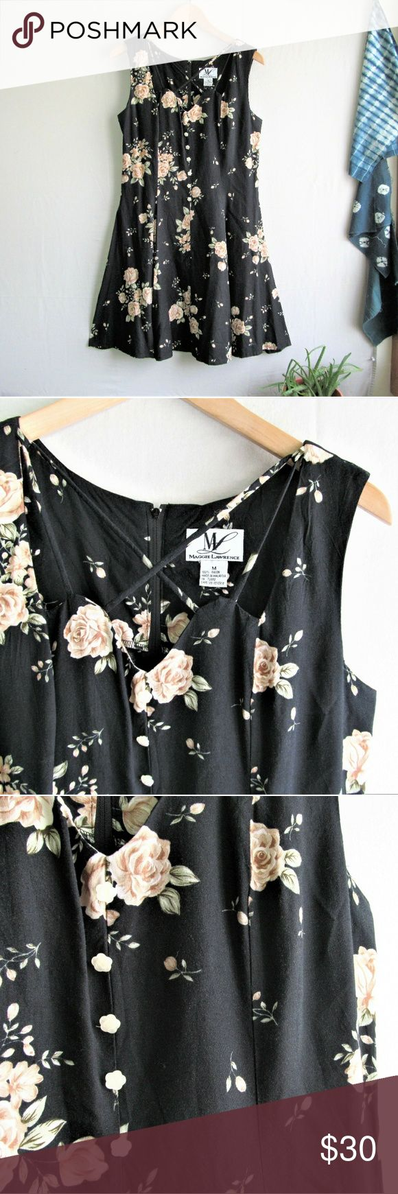 """Vintage 90s black floral strappy day dress Vintage 90s floral dress with strappy neck detailing and sweet little flower buttons down the front. Fitted silhouette, center back zip, 100% rayon. Euc, some slight weave distortion shown in picture 4. Not noticeable when worn♡ size medium  Measurements taken flat  Pit to pit 19"""" Waist 16.5"""" Length from shoulder 35"""" Vintage Dresses"""