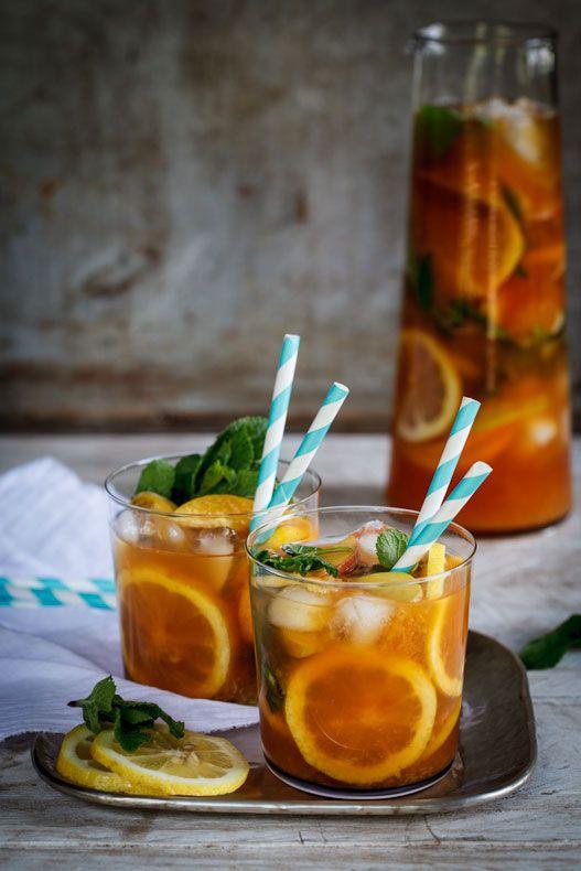 Peach Tea Punch - Tea, Peaches and Peach Juice, Lemon, Mint and Vodka