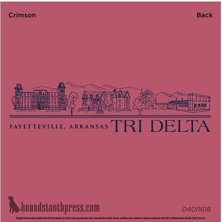 This is a more detailed picture of the back of the Seaside shirt. Houndstooth did an awesome job of putting Old Main, the Tri Delt house, and the stadium on the back! // trideltatees from University of Arkansas