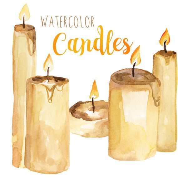 Watercolor Candles, Candle Clipart, Fire Clipart, Holiday Winter Season Clip Art, Christmas Clip Art, Religious Artwork, Candle Clip Art