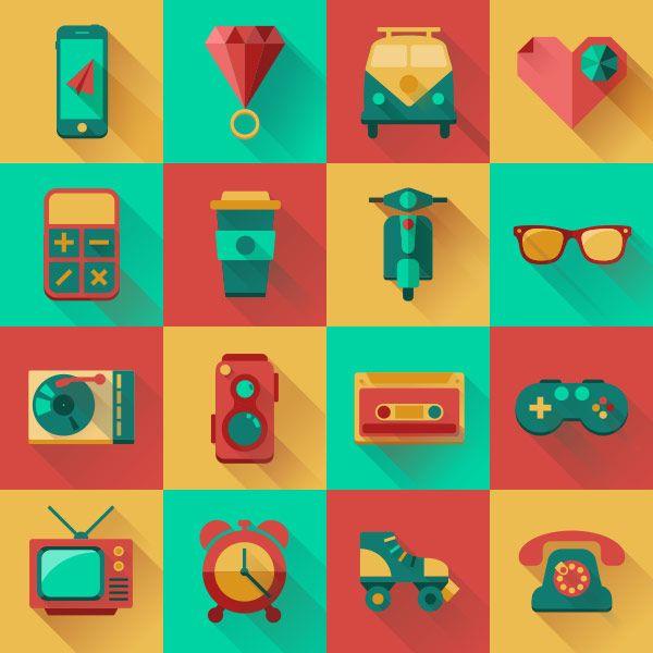 Free Flat Icons Hipster Pack by Tsveta Petrova