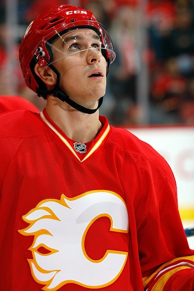 Mikael Backlund of the Calgary Flames skates against the St Louis Blues during an NHL game on October 22 2016 at the Scotiabank Saddledome in Calgary...