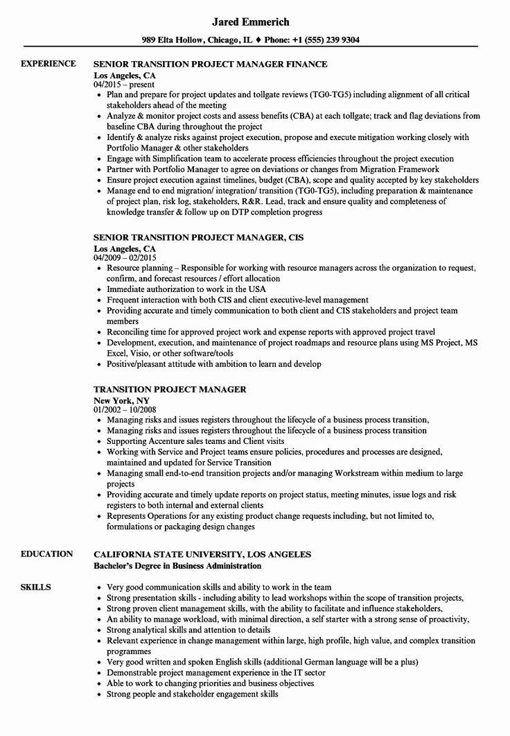 Project Manager Job Description Resume Beautiful