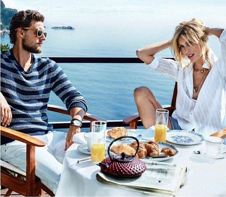 having breakfast