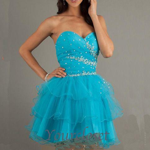 Amazing rhinestone tulle short prom dress from Your Closet #coniefox #2016prom