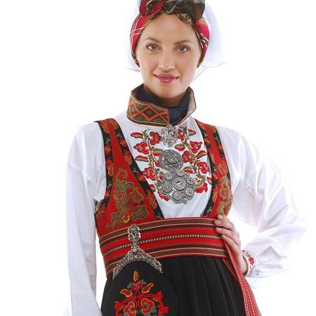 Norwegian national costumes. Bunad from East- Telemark