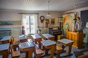 Torgare museum, Kronoby. One room showing what the classrooms looked like...