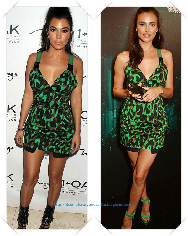 Un minivestido de camuflaje de Versace lo llevo primero Kourtney Kardashian a una fiesta; después se lo vimos a Irina Shayk en otra fiesta en Las Vegas.