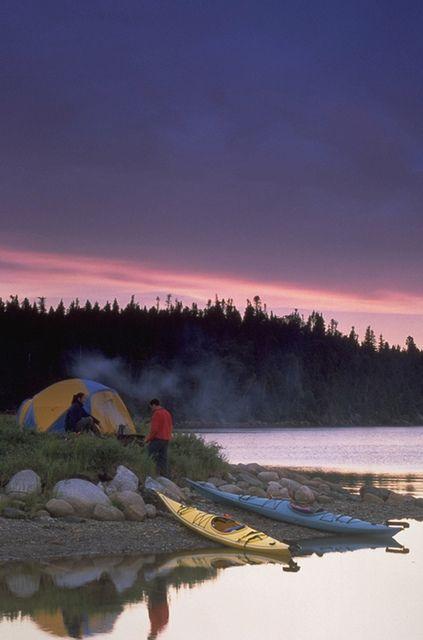 Camping and Kayaking, Newfoundland/Labrador, Canada.