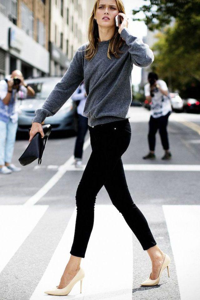 Pinterest : 25 façons de porter le jean noir | Glamour : Jean Noir + Escarpins Nude