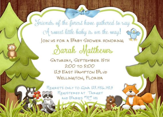 52 best baby shower images on pinterest | woodland baby showers, Baby shower invitations