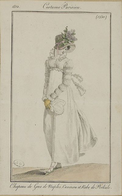 1812 Costume Parisien. Hat of silk. Canezou (jacket) and dress of cotton.