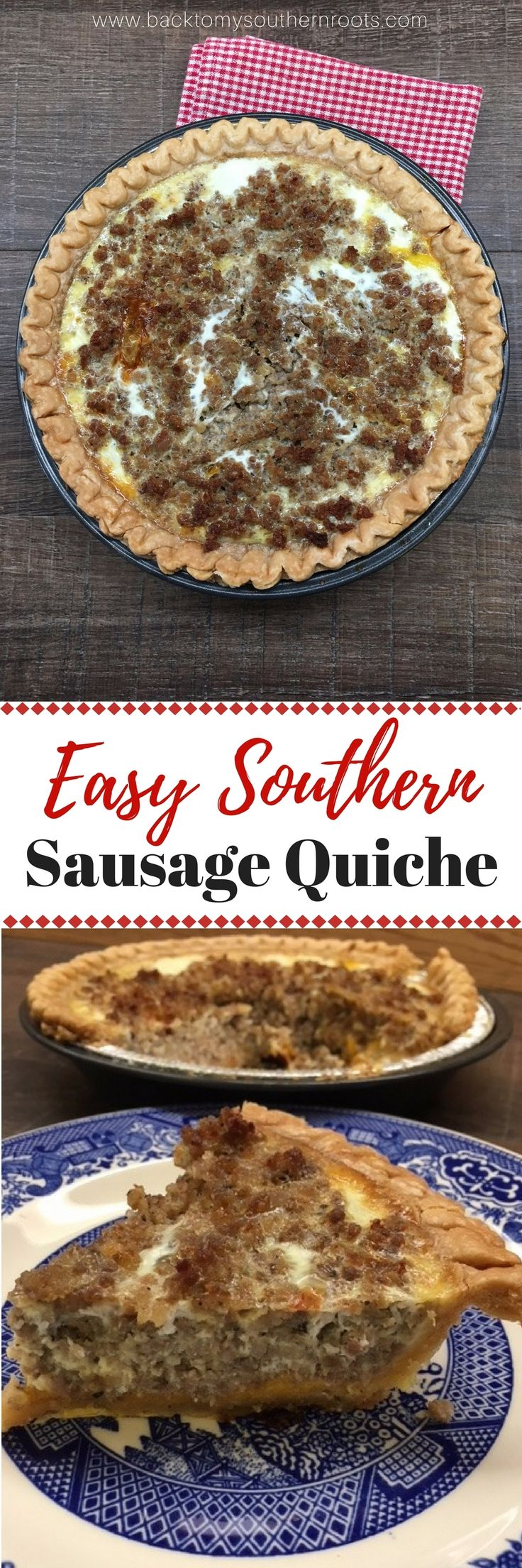 I love this recipe for Easy Southern Sausage Quiche. It's a filling meal that will work great on Thanksgiving or Christmas morning. via @juliepollittbacktomysouthernroots
