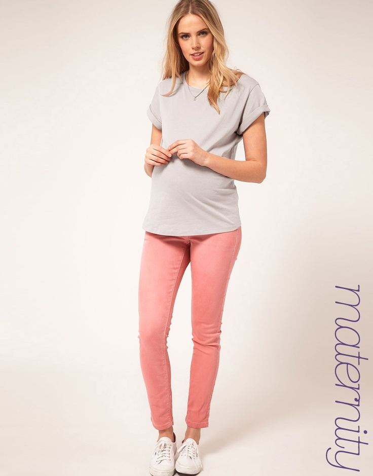ASOS MATERNITY Skinny jean in Washed Rose #4