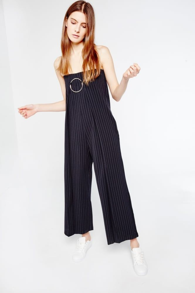 9dee558ce36 Style Mafia Strapless Pinstripe Jumpsuit With Buckle Detail ...