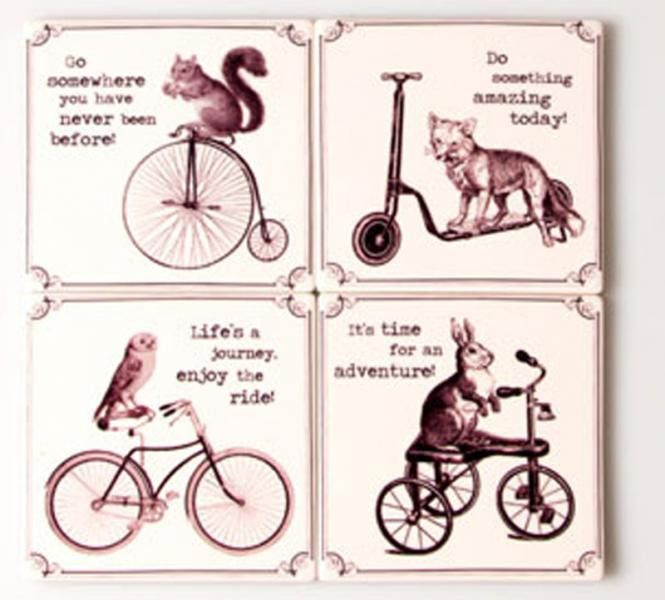 The set of four Inspirational Animals Coasters is a practical as well as fun table decoration. Each of the coasters is decorated by an animal riding a bike and an additional inspirational print: 'Do something amazing today!', 'It's time for an adventure!', 'Go somewhere you have never been before!' and 'Life's a journey, enjoy the ride!'.  DIMENSIONS: 10 x 10 cm   ceramic.  Available from Holly House Gifts, http://www.enterprise-centre.org/shop/holly-house-gifts