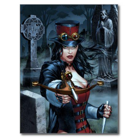 Female Van Helsing Vampire Hunter Comic Art Post Card