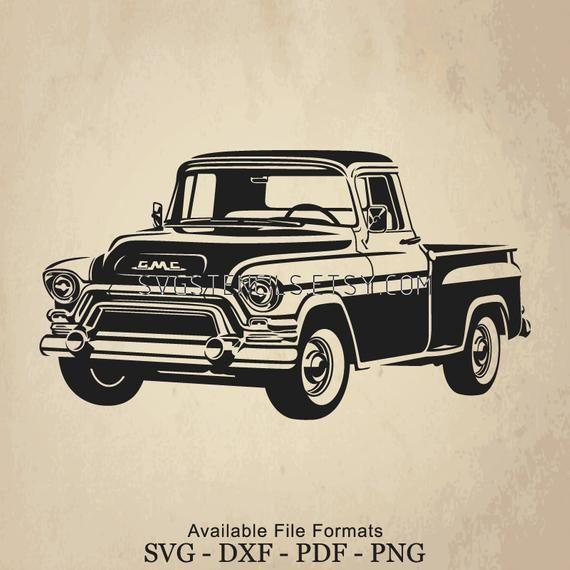 Svg Gmc 100 Pickup 1955 Old Truck Stencil Silhouette Etsy Old Trucks Svg Trucks