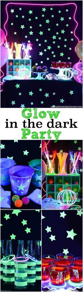 Glow in the dark party ideas. This would be the perfect teen birthday party...looks like so much fun!
