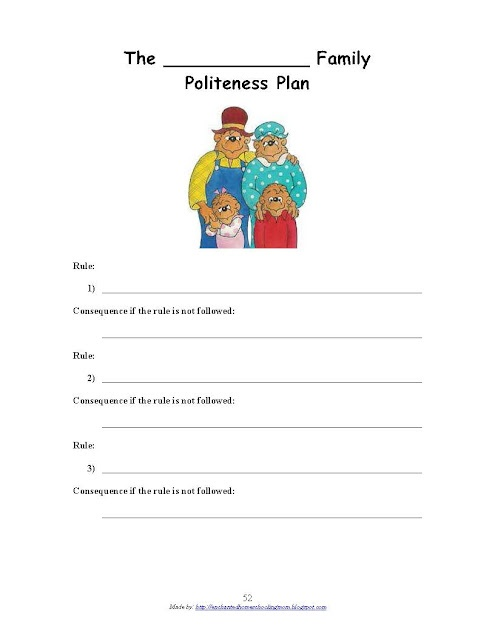 """Berenstain Bears Forget Their Manners lesson ideas. Read the book and make a """"plan"""" for the family."""