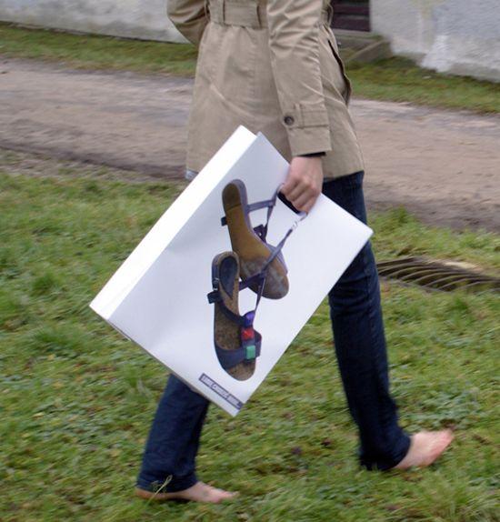 Bolsa de papel creativa: sandalias #Creative paper #bags