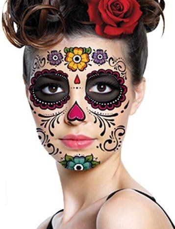 Skull face day of the dead temporary tattoo