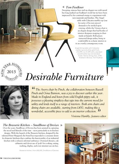 The English Home _ January 2015 The Vienna chair is nominated for the New Year's Honours shortlist